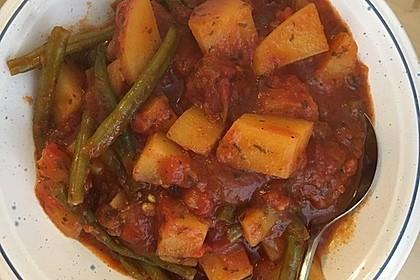 Griechische Bohnen mit Kartoffeln und Tomaten (Bild)