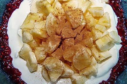 Bananencreme mit Himbeermus 4
