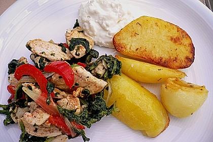 Hähnchenpfanne mit Paprika und Spinat 1