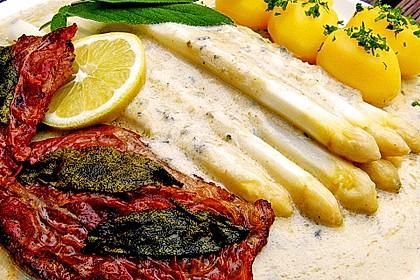 Spargel mit Gorgonzola - Mascarpone - Sauce und Saltimbocca