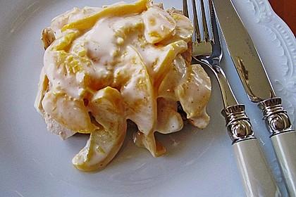 Hühnerbrüstchen mit Pfirsich - Mayonnaise