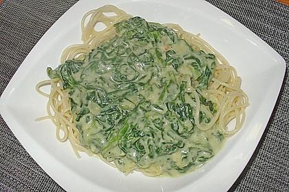 Spaghetti mit Kokosspinat 8