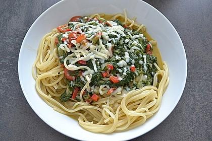 Spaghetti mit Kokosspinat 2