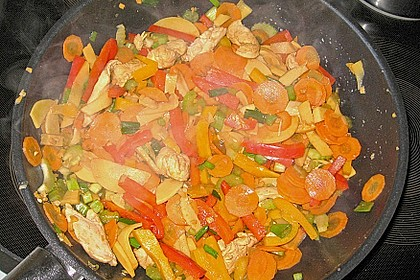 Gebratene Hühnerbrust mit Ingwer - Gemüse 1