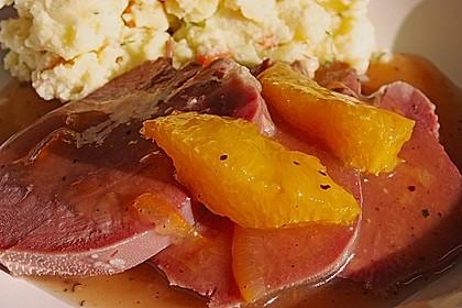 Rinderzunge in pikanter Orangensauce