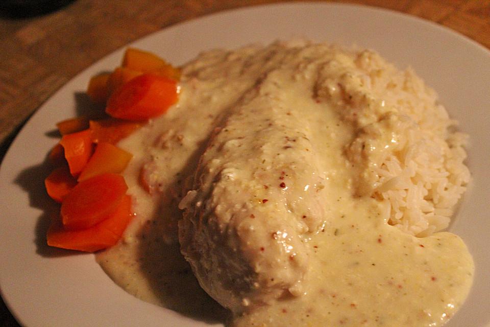 Illes pochierte Hähnchenbrust mit Meerrettich - Senf Soße für die ...