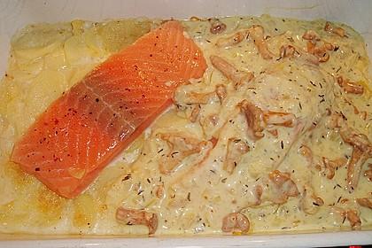 Kartoffel - Lachs - Gratin mit Pfifferlingen 5