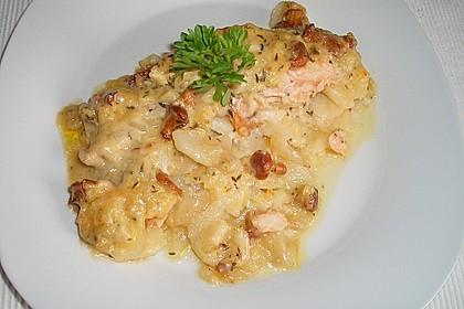 Kartoffel - Lachs - Gratin mit Pfifferlingen