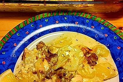 Kartoffel - Lachs - Gratin mit Pfifferlingen 3