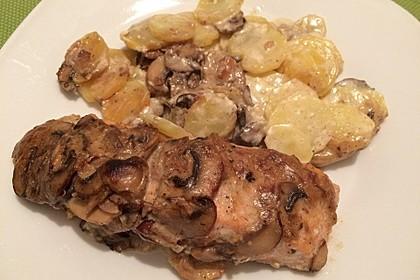 Kartoffel - Lachs - Gratin mit Pfifferlingen 4