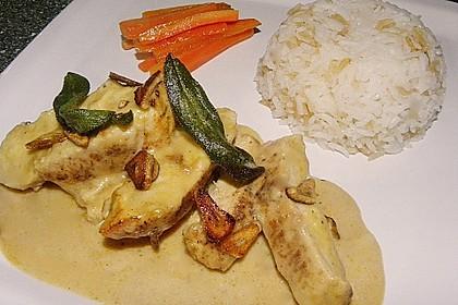 Hähnchenbrust mit Käsefondue - Sauce überbacken