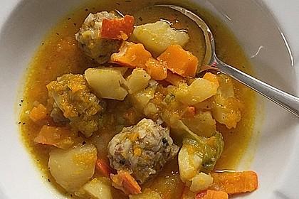 Kürbis - Kartoffel - Eintopf mit Hack - Reis - Bällchen 2