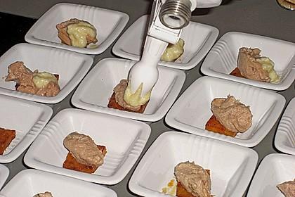 Kürbis, Foie gras und Bratapfelespuma