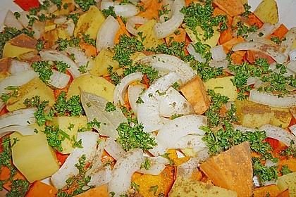 Brathähnchen mit Süßkartoffeln und Butternut-Kürbis 10