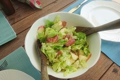 Rucola Salat mit Mozzarella, Pfirsichen, Rohschinken und Honigdressing 11