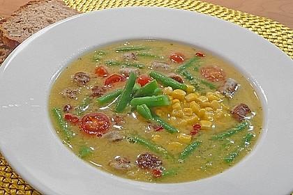 Bohnen - Maissuppe mit Fleischbällchen