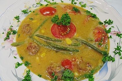 Bohnen - Maissuppe mit Fleischbällchen 1
