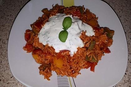 Paprika-Reispfanne mit Joghurtsauce 55