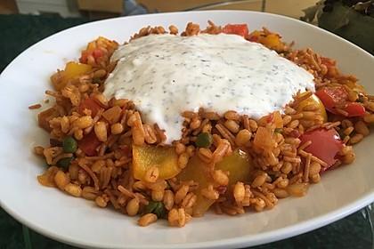 Paprika-Reispfanne mit Joghurtsauce 44