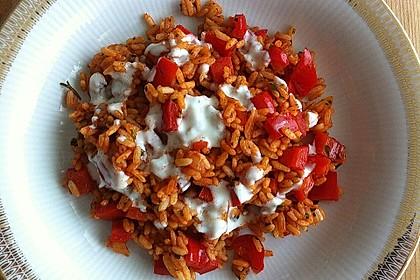 Paprika-Reispfanne mit Joghurtsauce 4
