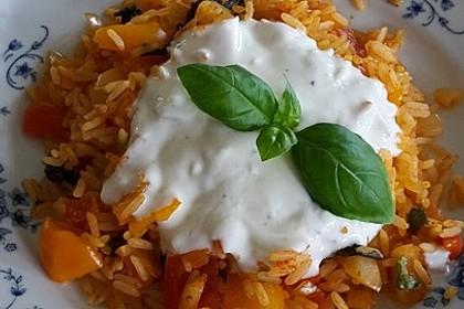 Paprika-Reispfanne mit Joghurtsauce 22
