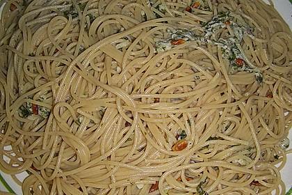 Vollkornspaghetti mit Basilikum 1