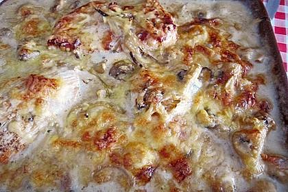 Putenschnitzel mit Champignonkruste überbacken 20
