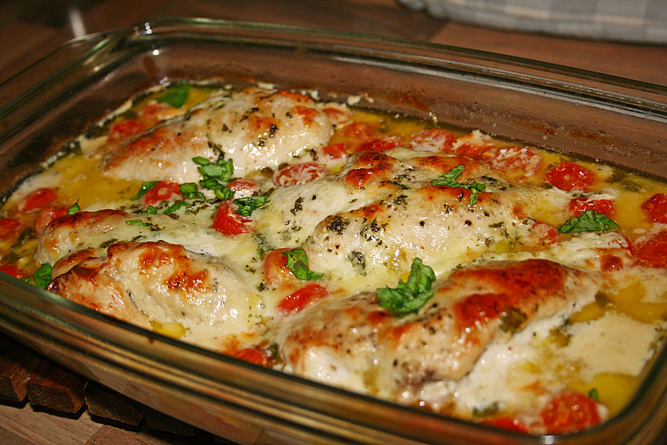 Mozzarella Hähnchen In Basilikum Sahnesauce Von Bienemaya Chefkoch