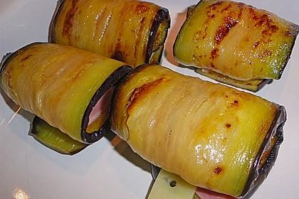 Auberginenröllchen mit Schinken und Käse 2
