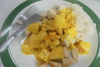 Hähnchen - Orangen - Curry mit Reis