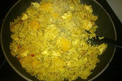 Hähnchen - Orangen - Curry mit Reis 1