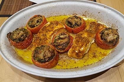 Gefüllte Tomaten mit Spinat, Orangen und Pinienkernen 2