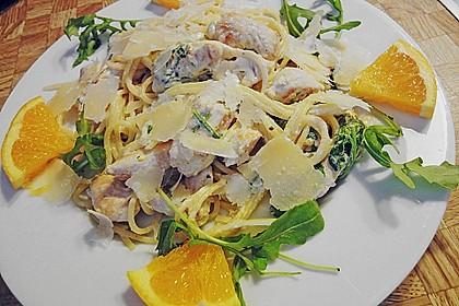 Putenschnitzel in Orangenrahm mit Rucola - Spaghetti 2