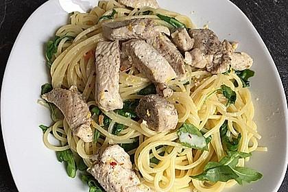 Putenschnitzel in Orangenrahm mit Rucola - Spaghetti 3