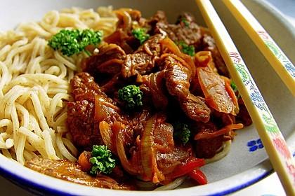 Chinesisches Rindfleisch mit Knoblauch