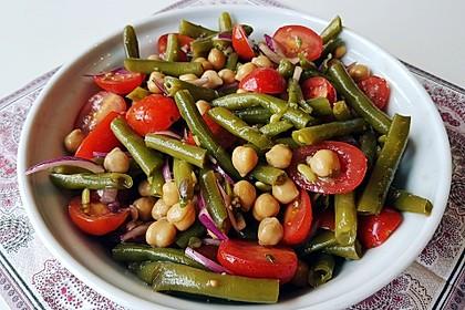 Bohnen - Tomaten - Salat mit Kichererbsen