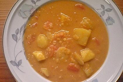 Süßkartoffel - Linsensuppe mit Kokosmilch 4