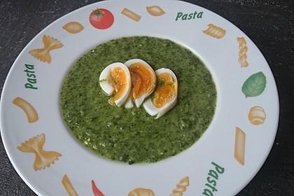 Spinatsuppe mit gebackenem Ei 1
