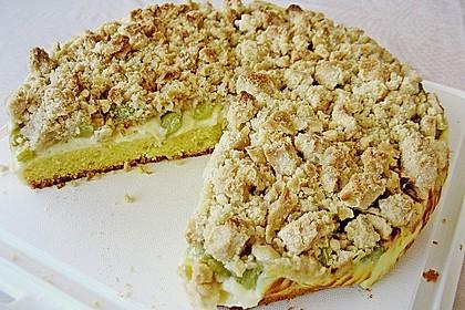 Rhabarberkuchen mit Vanillecreme und Streusel 148