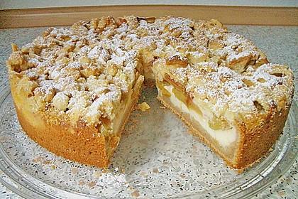 Rhabarberkuchen mit Vanillecreme und Streusel 16