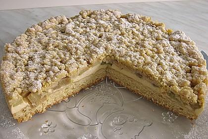 Rhabarberkuchen mit Vanillecreme und Streusel 25