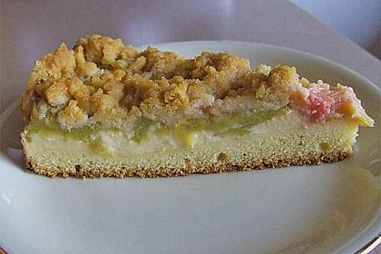Rhabarberkuchen mit Vanillecreme und Streusel 34