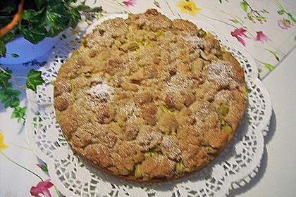 Rhabarberkuchen mit Vanillecreme und Streusel 208
