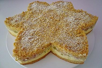 Rhabarberkuchen mit Vanillecreme und Streusel 10
