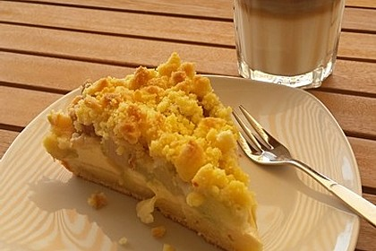 Rhabarberkuchen mit Vanillecreme und Streusel 15