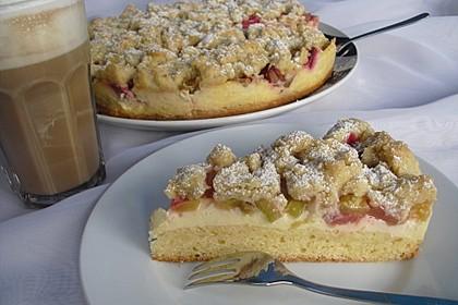 Rhabarberkuchen mit Vanillecreme und Streusel 22