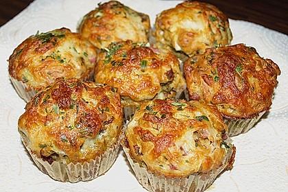 Gefüllte, deftige Muffins mit Tomate und Schinken