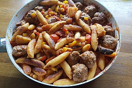 Kartoffelnudeln mit Hackbällchen 3