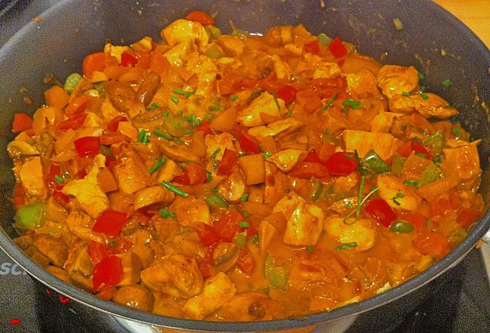 Cremiges Curry Hühnchen Mit Gemüse Von Jessyca1603 Chefkoch