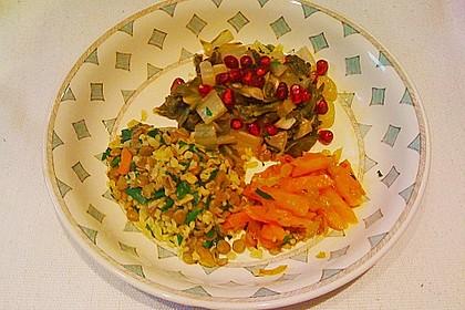 Mangold-Gemüse mit Bulgur-Linsen-Pilaw